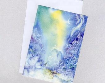 Snow Elf Ice-skating, Christmas card, watercolour, A5