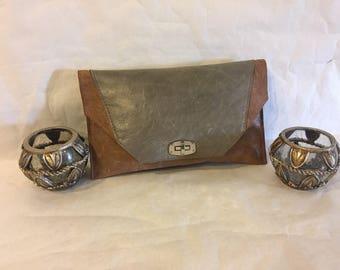 CASHA/Sage and tan leather clutch handbag