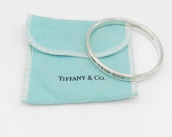 cd74c2279 Authentic TIFFANY and CO. Sterling Silver 1837 Oval Slip on Bangle BRACELET  Medium