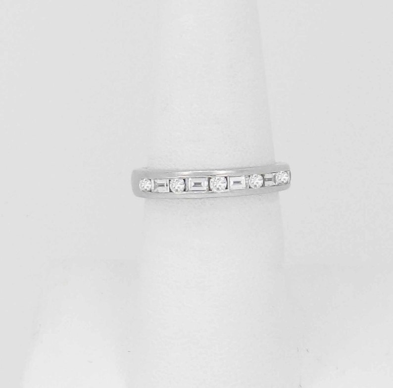 f29d2a2022e69 Authentic TIFFANY & Co Platinum Baguette and Round Channel Set Diamond Band  Ring Size 6.5 6-1/2 Retail 3,750.