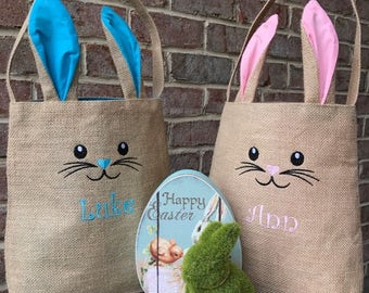 Personalized Bunny Bag--FREE Personalization--Speedy Delivery, Child/Adult Easter Basket, Monogrammed Bunny Ear Tote, Canvas Tote, Bunny Bag