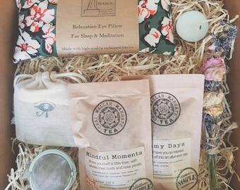 Mindfulness Gift Set - Relaxation Kit - Home Retreat Box - Lavender Eye Pillow - Smudge Stick - Loose Leaf Tea