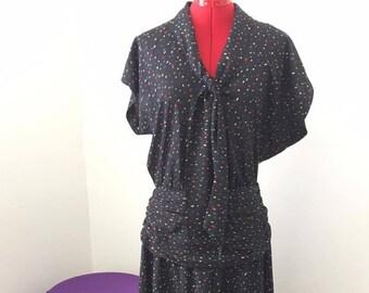 80s does 40s Black Confetti Dress