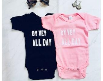 3ab19d905aab Oy Vey All day Jewish Baby Gift// Jewish Baby Outfit// Bubbe Gift// Jewish  bris gift// Bris outfit// Newborn Yiddish baby shower// Mensch//