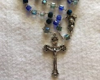 Blue Cube Glass Rosary