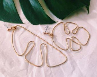 Asymmetric Monstera earrings, gold, handmade
