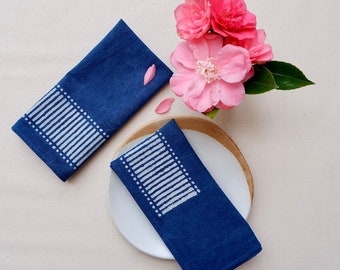 Matchstick napkins, Block print napkins, Indigo napkins, Cotton napkins, Handmade napkins, Table napkins, Housewarming gift