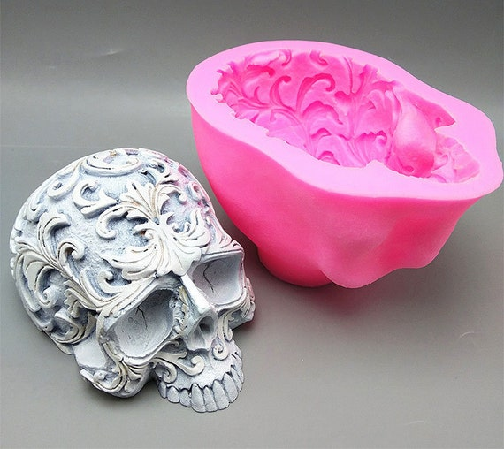 Skull Mould Silicone Fondant Mould Cake Resin Candle Candy Chocolate Skulls