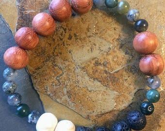 Wooden and Green Stone Beaded Bracelet