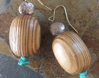 Wooden Earrings with Light Copper and Teal Green Rocks