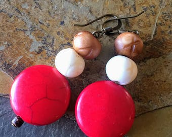 Red Stone and Bone Earrings