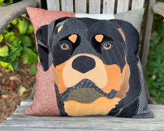 Rottweiler Dog Pillow, Pet Pillow, Dog Decor, Dog Lover Gift, Cushion Cover