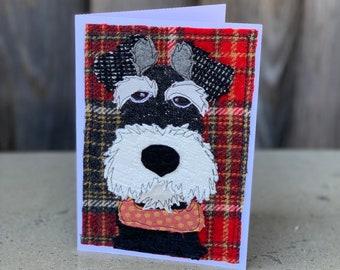Black Schnauzer Dog Handmade Fabric Blank Greeting Card