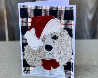 Christmas Card Poodle Dog with Santa Hat Handmade Fabric Blank Greeting Card
