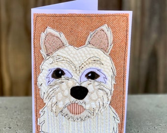 Westie Terrier Dog  Handmade Fabric Blank Greeting Card
