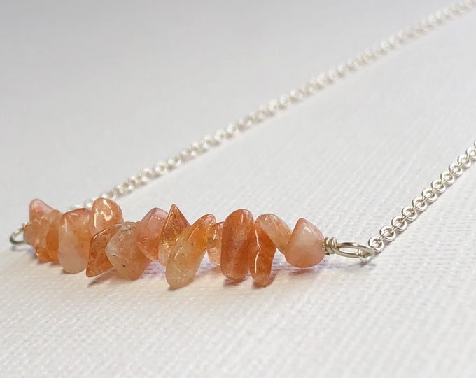 Sunstone Necklace Minimalist Jewelry Layering Beaded Bar Necklace Gemstone Bar Necklace Sundance Style Simple Necklace Fall Necklace