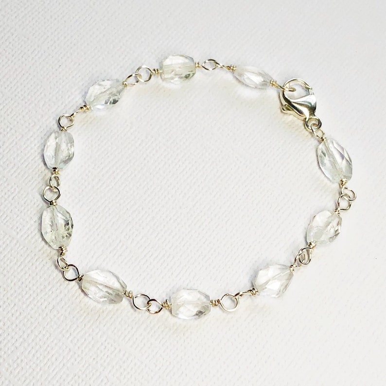 Natural Aquamarines Aquamarine Sterling Silver Faceted Gemstone Bracelet March Birthstone Gift for Her Delicate Layering Bracelet