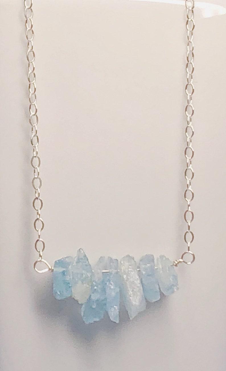March Birthday Rough Raw Gemstones Natural Minimalist Jewelry Sundance Style Raw Aquamarine Sterling Silver Beaded Necklace Stone Stack