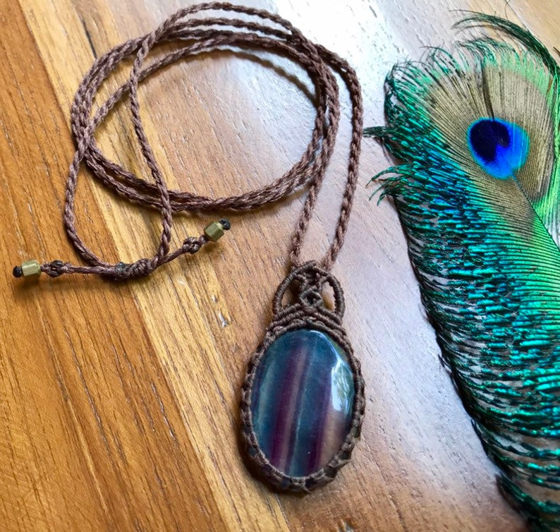 Fluorite macrame necklace stone of balance healing crystal fluorite pendant adjustable necklace