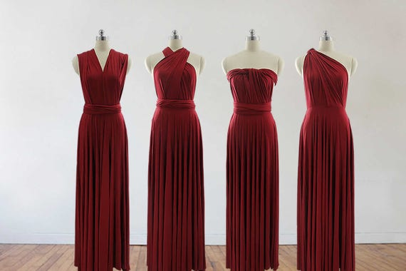 Burgundy Bridesmaid Dresses long infinity dress Wine Red | Etsy