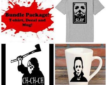 Michael Myers Halloween Bundle Gift Package Unisex Shirt Decal Mug Present Horror Lover Decor Halloween Merch Massacre