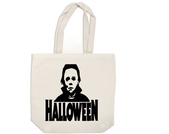Michael Myers Halloween Horror Canvas Tote Bag Market Pouch Grocery Reusable Merch Massacre Black Friday Christmas