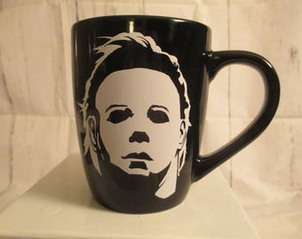 Michael Myers Halloween Black Horror Mug Coffee Cup Gift Home Decor Kitchen Bar Gift for Her Him Merch Massacre