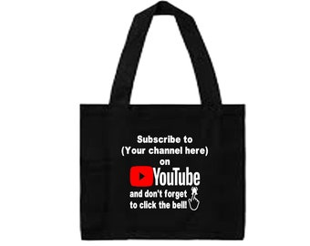 YouTube Subscribe Follow # @ Instagram Snapchat  Twitter Custom Funny Canvas Tote Bag Market Pouch Merch Massacre Black Friday Christmas