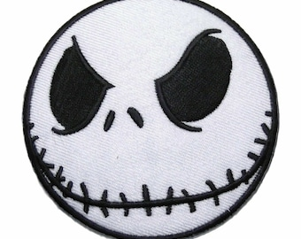 """Nightmare Before Christmas Jack Skellington Face 3"""" Wide Embroidered Iron on Patch Supplies Merch Massacre"""