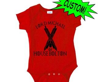 Game of Thrones GOT Custom Name House Sigil Lannister Stark Bolton Baby Kids Children Shirt Bodysuit Custom Horror Halloween Merch Massacre