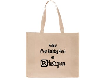 Social Media Instagram Hashtag Follow # @ Twitter Snapchat Custom Funny Canvas Tote Bag Market Pouch Merch Massacre Black Friday Christmas