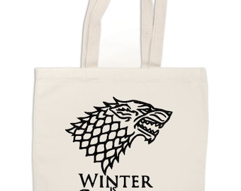 Winter is Coming Game of Thrones Horror Canvas Tote Bag Market Pouch Grocery Reusable Merch Massacre Black Friday Christmas Merch Massacre