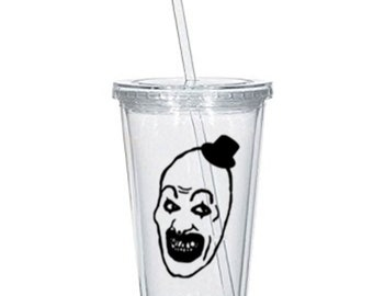Terrifier Art the Clown Killer Slasher All Hallow's Eve Horror Tumbler Cup Gift Home Decor Gift Any Color Personalized Custom Merch Massacre