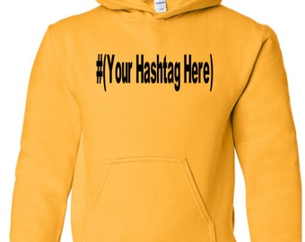 Hashtag Social Media Handle Twitter Snapchat Instagram YouTube Funny Comedy Unisex Hoodie Pullover Hooded Sweatshirt Many Size Colors Custom