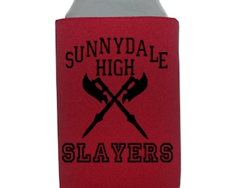 Buffy the Vampire Slayer Slay Sunnydale Bronze Grr Argh Halloween Horror Can Cooler Can Sleeve Bottle Holder Merch Massacre