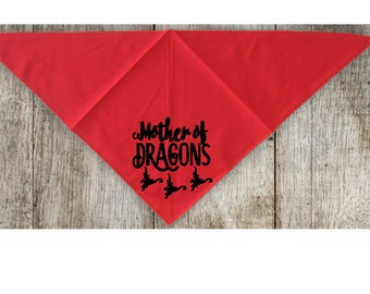 Mother of Dragons Game of Thrones GOT Pet Bandana Scarf Cat Dog Clothes Horror Halloween Accessories Merch Massacre