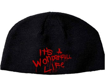 It's a Wonderfull Life Exorcist Legion Beanie Knitted Hat Cap Winter Clothes Horror Merch Massacre Christmas Black Friday