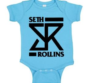Seth Rollins Wrestling Wrestler Blue Kids Children Shirt Bodysuit Sizes Colors Custom Merch Massacre Horror