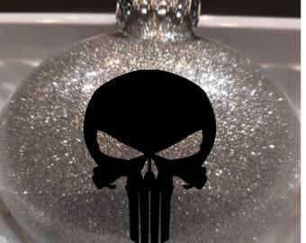 The Punisher Skull Comic Book Comics Super Hero Superhero Gotham At Glitter Christmas Ornament Glass Disc Holiday Horror Merch Massacre