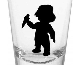 Chucky Childs Play Shot Glass Horror Halloween Drinking Bar Gift for Him Her Merch Massacre