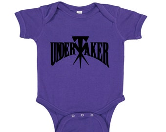 Undertaker Wrestling Wrestler Purple Kids Children Shirt Bodysuit Sizes Colors Custom Merch Massacre Horror
