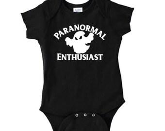 Paranormal Believe Ghost UFO Bigfoot Sasquatch Cryptid  Baby Infant Kids Children Shirt Bodysuit Many Sizes Colors Custom Horror Halloween