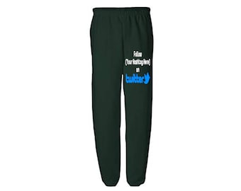Social Media Twitter Hashtag # @ Follow Instagram Snapchat Custom Sweatpants Lounge Pajama Comfort Comfy Mens Womens Clothes Merch Massacre