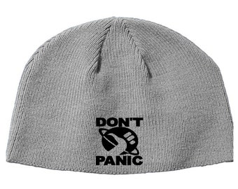 Don't Panic Hitchhikers Guide to the Galaxy Beanie Knitted Hat Cap Winter Clothes Horror Merch Massacre Christmas Black Friday