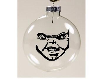 Chucky Childs Play Christmas Ornament Glass Disc Holiday Horror Merch Massacre