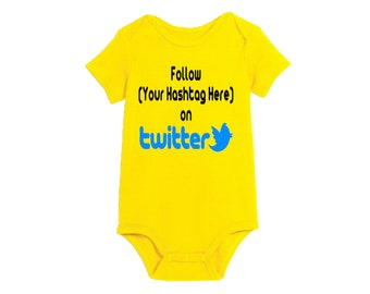 Social Media Twitter Hashtag # @ Follow Instagram Snapchat Baby Infant Kids Children Shirt Bodysuit Many Sizes Colors Custom Merch Massacre