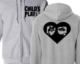 Child's Play Chucky Killer Doll Slasher Bloody Horror Hoodie Zip Up Hooded Sweatshirt Many Sizes Horror Halloween Merch Massacre