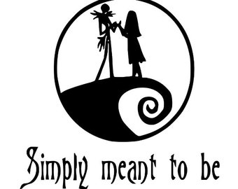 Simply Meant to Be Nightmare Before Christmas Horror Vinyl Car Decal Bumper Window Sticker Any Color Multiple Sizes