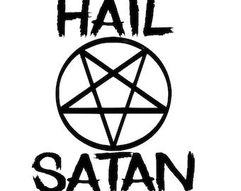 Hail Satan Funny Halloween Horror Vinyl Car Decal Bumper Window Sticker Any Color Multiple Sizes