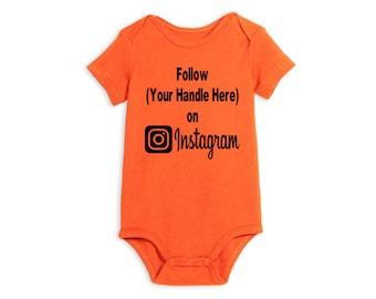 Social Media Instagram Hashtag # @ Follow Twitter Snapchat Baby Infant Kids Children Shirt Bodysuit Many Sizes Colors Custom Merch Massacre